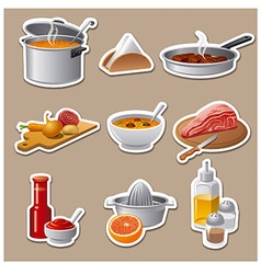 cooking food stickers vector image