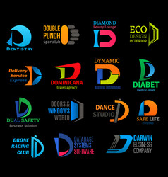 Corporate identity icons letter d isolated vector