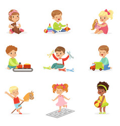 Cute children playing with different toys and vector