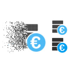 Dispersed pixelated halftone euro database icon vector