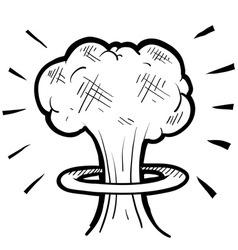 doodle nuke explosion cloud vector image