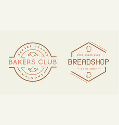 double set of bakery pastry elements shop sign vector image