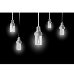 Energy saving bulbs with cords vector