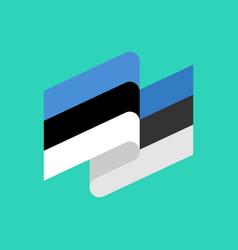 estonia flag ribbon isolated estonian tape banner vector image