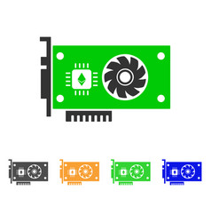 Ethereum gpu videocard icon vector