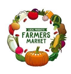 farm vegetable isolated veggies round frame vector image