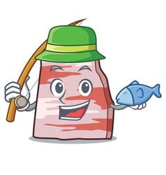 Fishing pork lard mascot cartoon vector