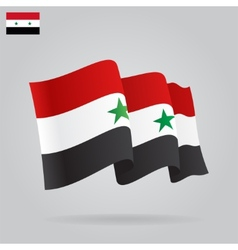 Flat and waving Syrian Flag vector