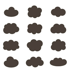 Flat design monochrome cloud icons vector