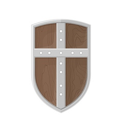 flat style colored medieval shield with cross icon vector image