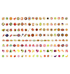 food icons big set fruits vegetables bbq pizza vector image
