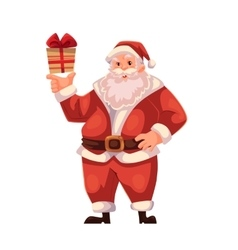 Full length portrait of Santa holding a small gift vector