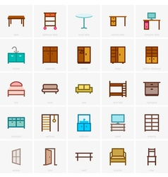 Furniture icons color version vector