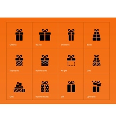 Gift icons on orange background vector image