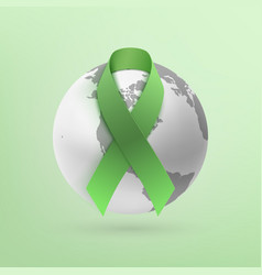 green ribbon with monochrome earth icon vector image