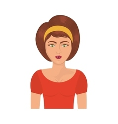 Half body woman with headband and short brown hair vector