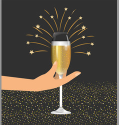 Hand with champage glass to celebrate holiday vector