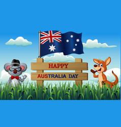 Happy australia day with koala and kangaroo on the vector