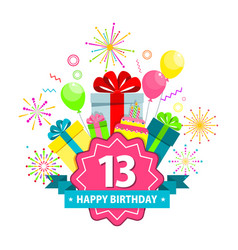 happy birthday card thirteen years vector image
