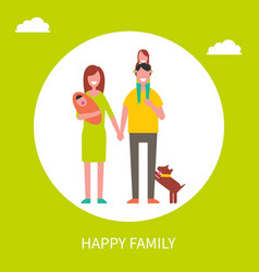 happy family poster mother father and daughters vector image