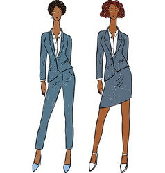 Image young fashionable women in classic suits vector