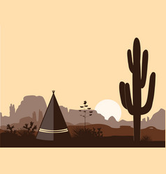 Indian wigwam silhouette with saguaro cacti son vector