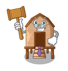 Judge chicken in a wooden cartoon coop vector