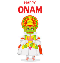 Kathakali dancer happy onam festival vector