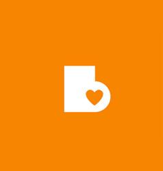 Love heart orange white alphabet letter b vector