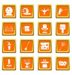 magic icons set orange vector image