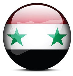 Map on flag button of Syrian Arab Republic vector image