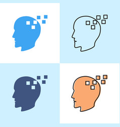 memory loss concept icon set in flat and line vector image