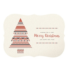 Merry christmas happy new year geometry tree shape vector image