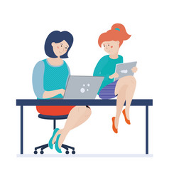 Mom and her teen daughter with computer and tablet vector