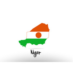 Niger country flag inside map contour design icon vector