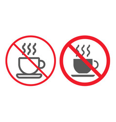 no coffee cup line and glyph icon prohibition vector image