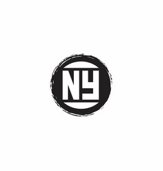 Ny logo initial letter monogram with abstract vector