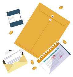 Office supplies and manila envelope vector
