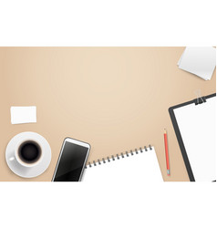 office workplace with different business stuff vector image