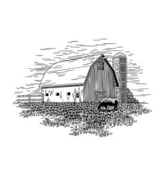 Old milk barn and cow vector