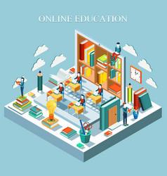 Online education concept isometric flat design vector