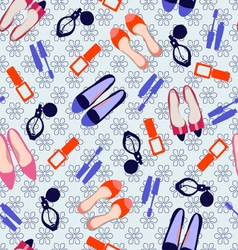 Pattern with make up and shoes vector