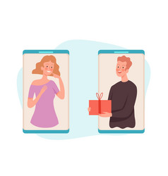 people with gift man gives box woman online vector image