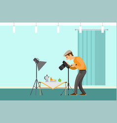 Photographer making shot of still life composition vector