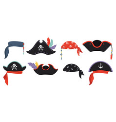 pirates hats sea piracy cap fashion buccaneer vector image