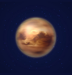 Planet venus background night sky cartoon style vector
