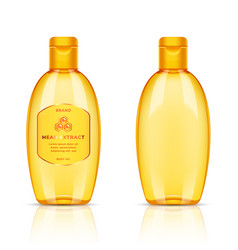 Plastic golden transparent bottle for body oil vector