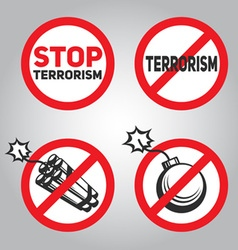 Prohibition sign Stop terrorism dynamite and bomb vector image
