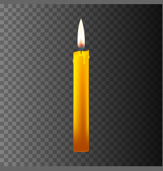 realistic candle on dark back vector image