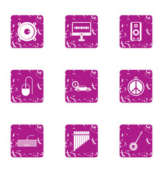 Relaxing lifestyle icons set grunge style vector
